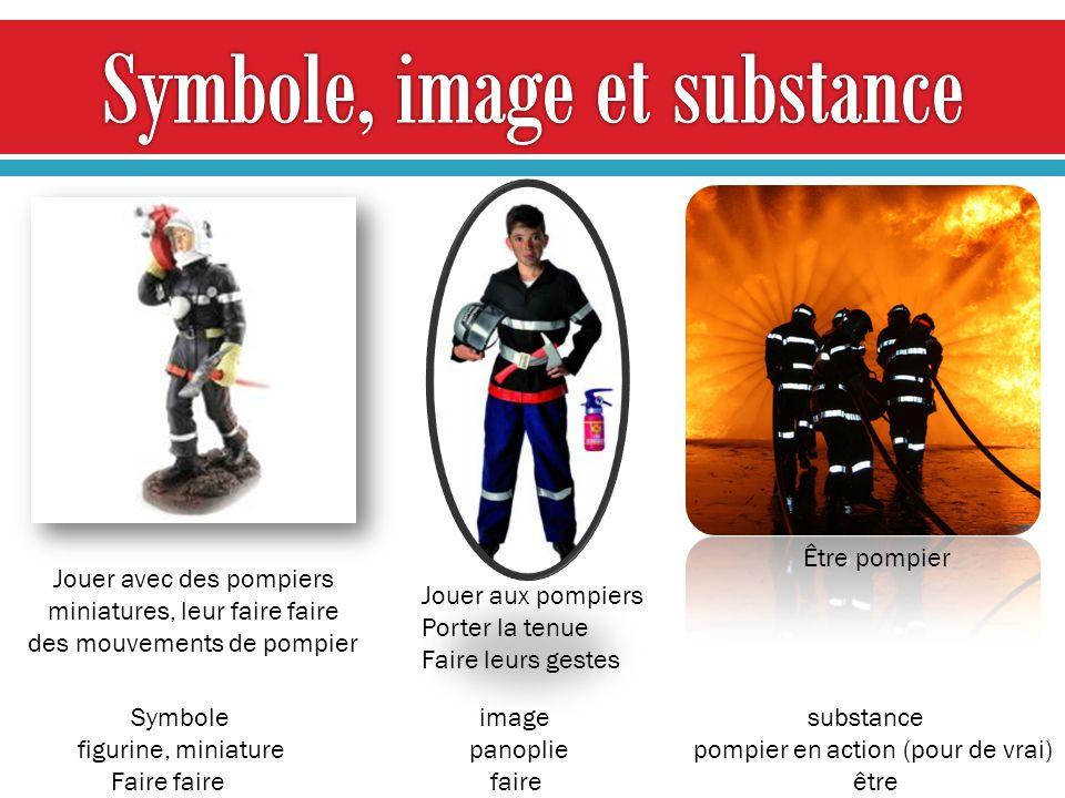 Symbole image substance figurine, miniature panoplie pompier en action (pour de vrai) Faire faire faire être Jouer avec des pompiers miniatures, leur faire faire des mouvements de pompier Jouer aux pompiers Porter la tenue Faire leurs gestes Être pompier