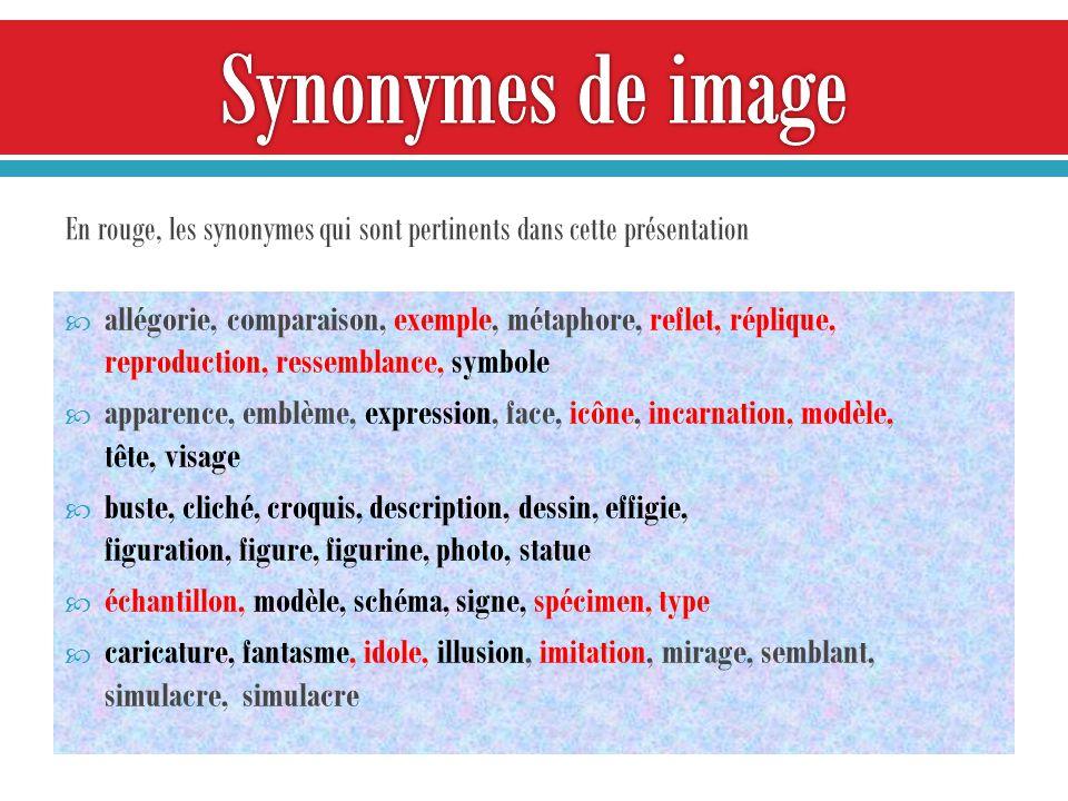 allégorie, comparaison, exemple, métaphore, reflet, réplique, reproduction, ressemblance, symbole apparence, emblème, expression, face, icône, incarnation, modèle, tête, visage buste, cliché, croquis, description, dessin, effigie, figuration, figure, figurine, photo, statue échantillon, modèle, schéma, signe, spécimen, type caricature, fantasme, idole, illusion, imitation, mirage, semblant, simulacre, simulacre En rouge, les synonymes qui sont pertinents dans cette présentation