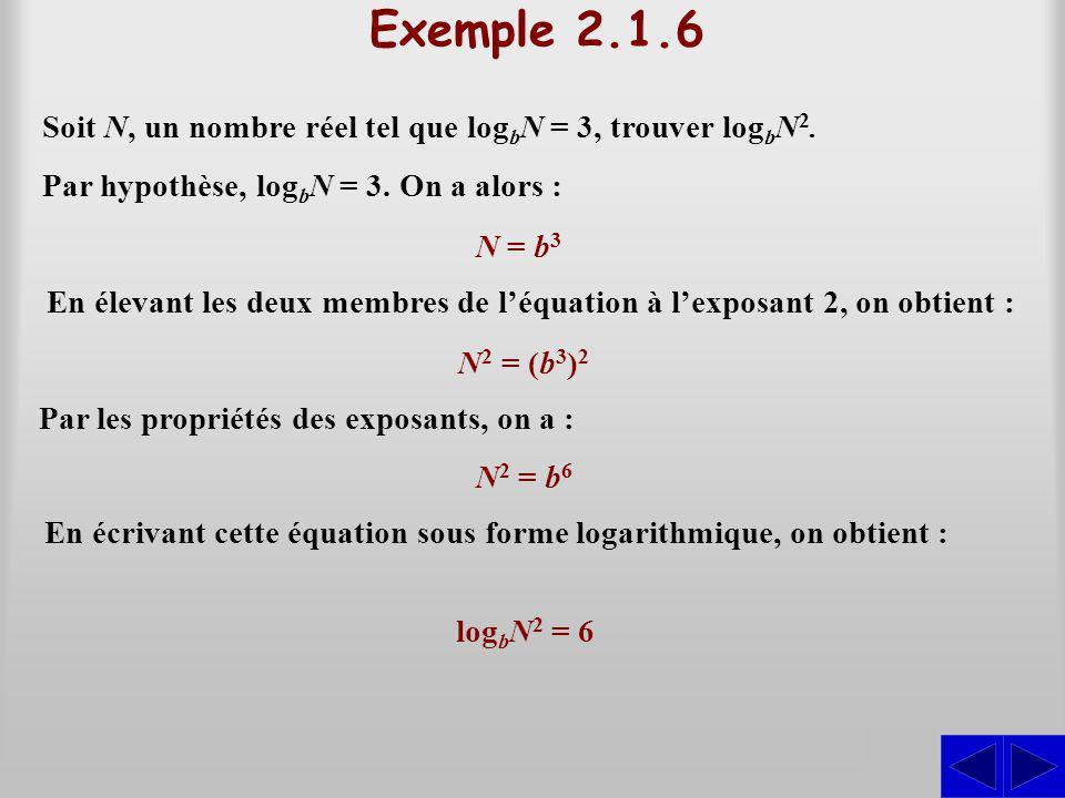 Exemple 2.1.6 Soit N, un nombre réel tel que log b N = 3, trouver log b N 2. S Par hypothèse, log b N = 3. On a alors : N = b 3 En élevant les deux me