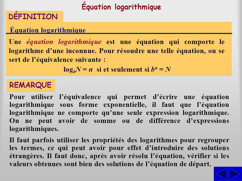 Équation logarithmique DÉFINITION Équation logarithmique Une équation logarithmique est une équation qui comporte le logarithme dune inconnue. Pour ré