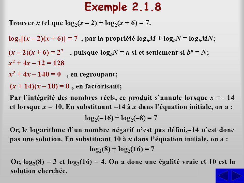 Exemple 2.1.8 Trouver x tel que log 2 (x – 2) + log 2 (x + 6) = 7. S log 2 [(x – 2)(x + 6)] = 7, par la propriété log b M + log b N = log b MN; (x – 2