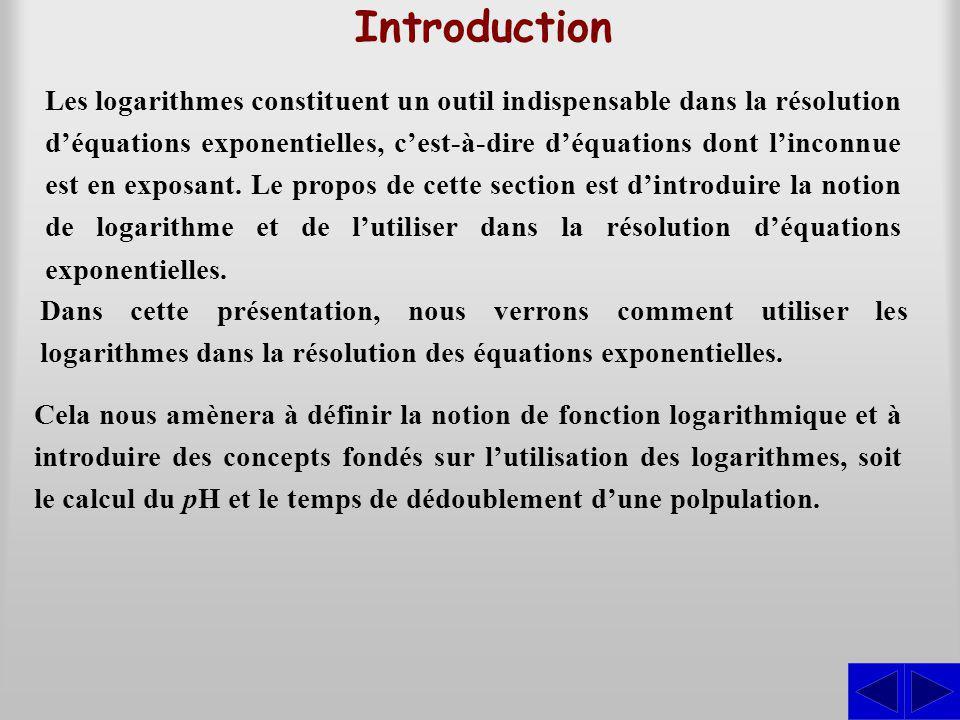 Introduction Les logarithmes constituent un outil indispensable dans la résolution déquations exponentielles, cest-à-dire déquations dont linconnue es
