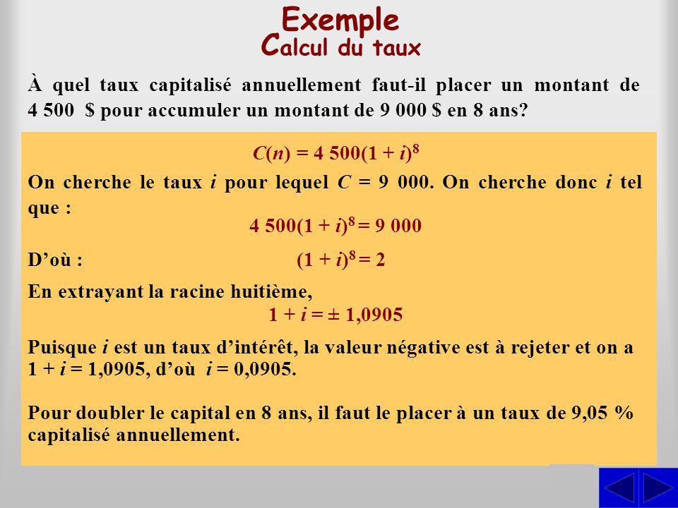 C(n) = 4 500(1 + i) 8 Exemple C alcul du taux À quel taux capitalisé annuellement faut-il placer un montant de 4 500 $ pour accumuler un montant de 9
