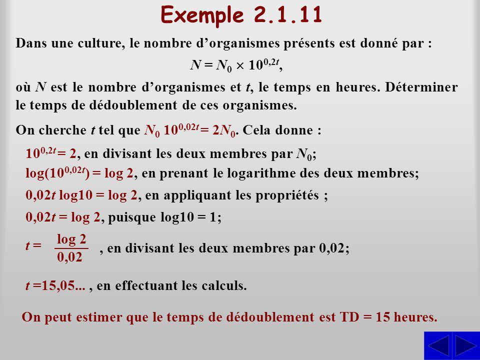 Exemple 2.1.11 Dans une culture, le nombre dorganismes présents est donné par : S N = N 0 10 0,2t, On cherche t tel que N 0 10 0,02t = 2N 0. Cela donn