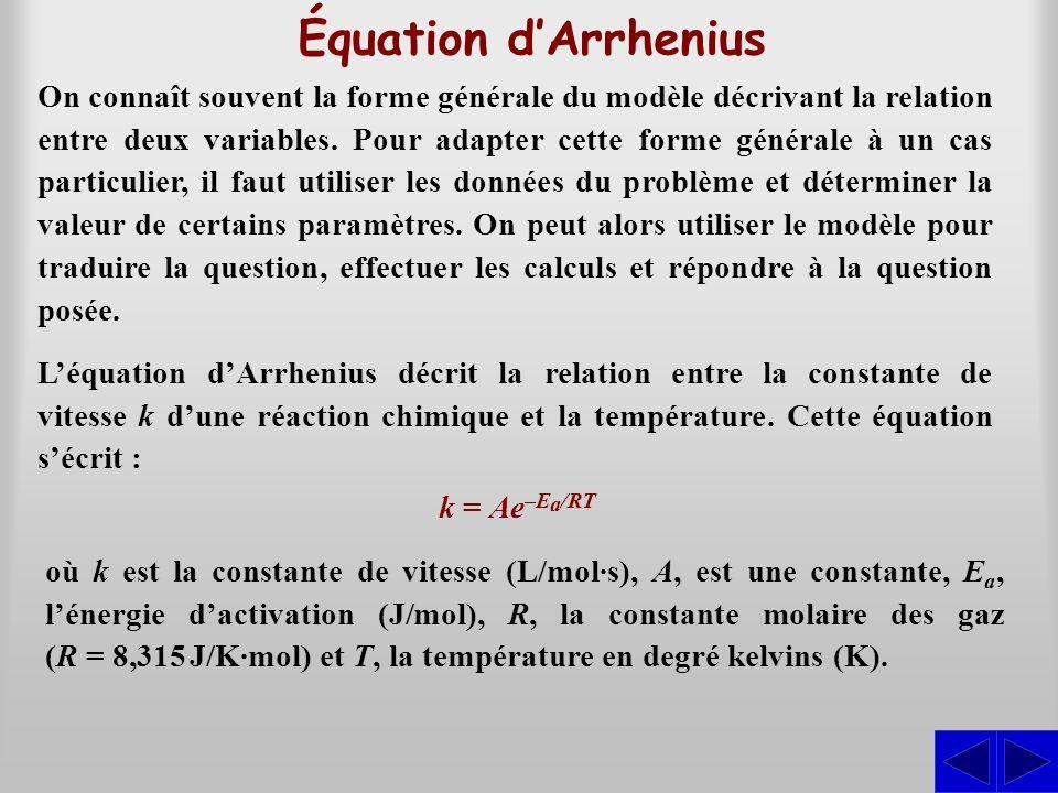 Équation dArrhenius On connaît souvent la forme générale du modèle décrivant la relation entre deux variables. Pour adapter cette forme générale à un