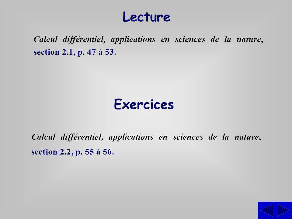 Exercices Calcul différentiel, applications en sciences de la nature, section 2.2, p. 55 à 56. Lecture Calcul différentiel, applications en sciences d