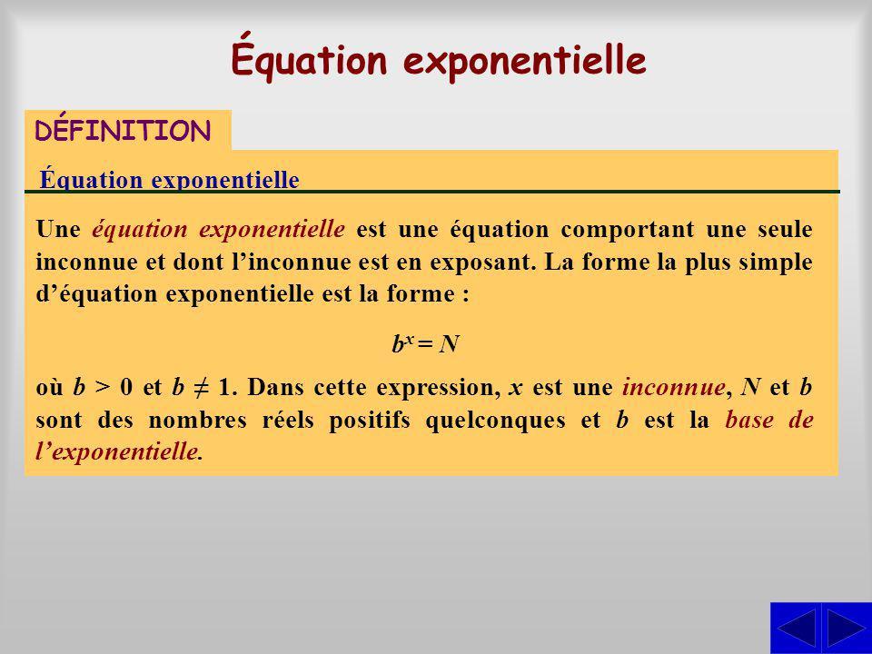 Équation exponentielle DÉFINITION Équation exponentielle Une équation exponentielle est une équation comportant une seule inconnue et dont linconnue e