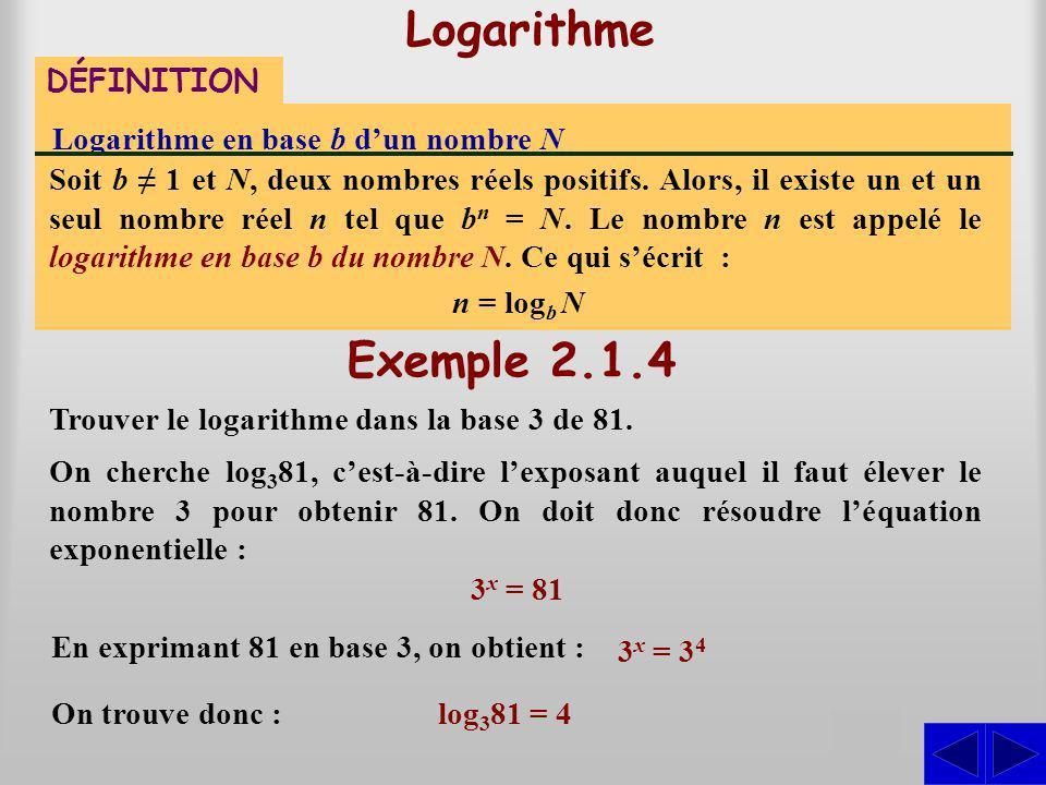 Logarithme DÉFINITION Logarithme en base b dun nombre N Soit b 1 et N, deux nombres réels positifs. Alors, il existe un et un seul nombre réel n tel q