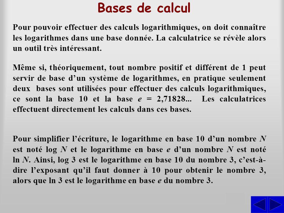 Bases de calcul Pour pouvoir effectuer des calculs logarithmiques, on doit connaître les logarithmes dans une base donnée. La calculatrice se révèle a