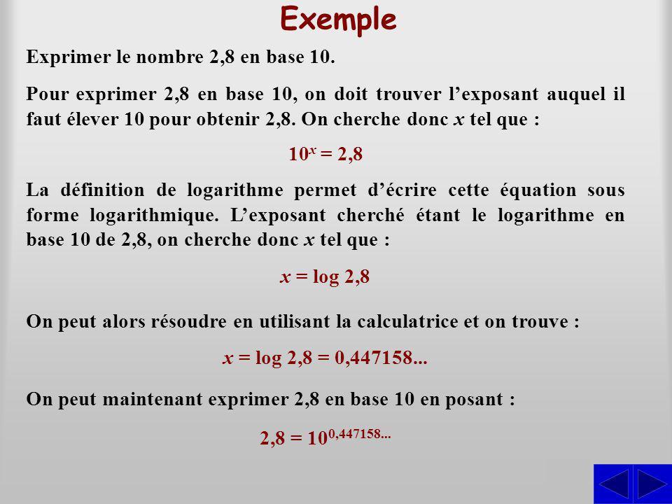 Exemple Exprimer le nombre 2,8 en base 10. S Pour exprimer 2,8 en base 10, on doit trouver lexposant auquel il faut élever 10 pour obtenir 2,8. On che