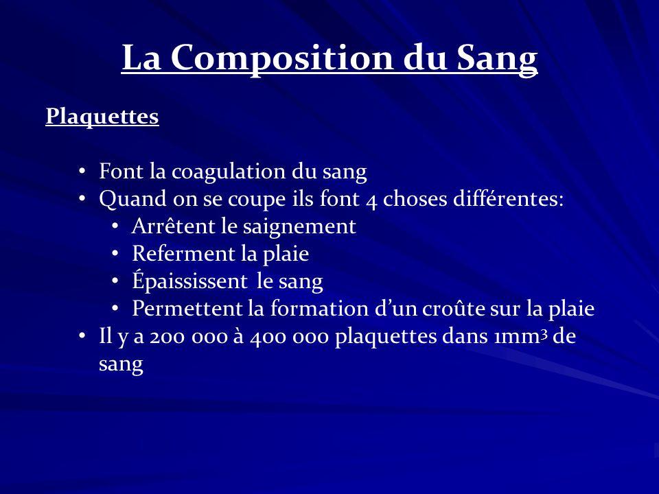 La Composition du Sang Plaquettes Font la coagulation du sang Quand on se coupe ils font 4 choses différentes: Arrêtent le saignement Referment la pla