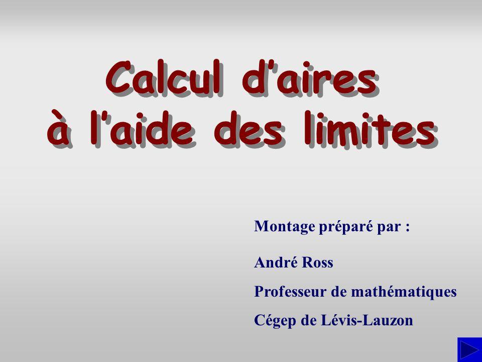 Montage préparé par : André Ross Professeur de mathématiques Cégep de Lévis-Lauzon Calcul daires à laide des limites Calcul daires à laide des limites