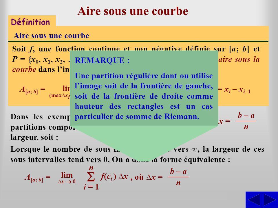 Aire sous une courbe Dans les exemples que nous allons présenter, les partitions comporteront n sous-intervalles de même largeur, soit : S Définition