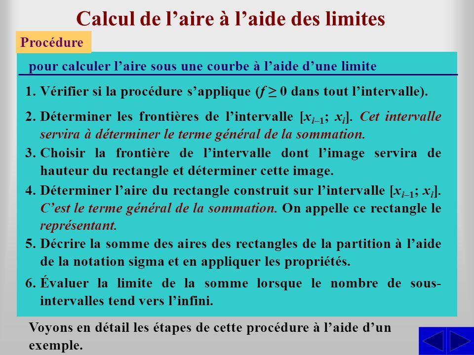 Calcul de laire à laide des limites Procédure pour calculer laire sous une courbe à laide dune limite 2.Déterminer les frontières de lintervalle [x i–