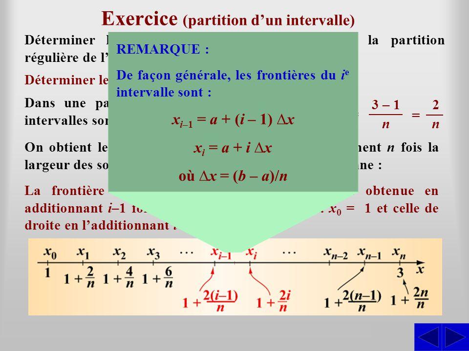 Exercice (partition dun intervalle) Déterminer les frontières des sous-intervalles de la partition régulière de lintervalle [1; 3] en n sous-intervall