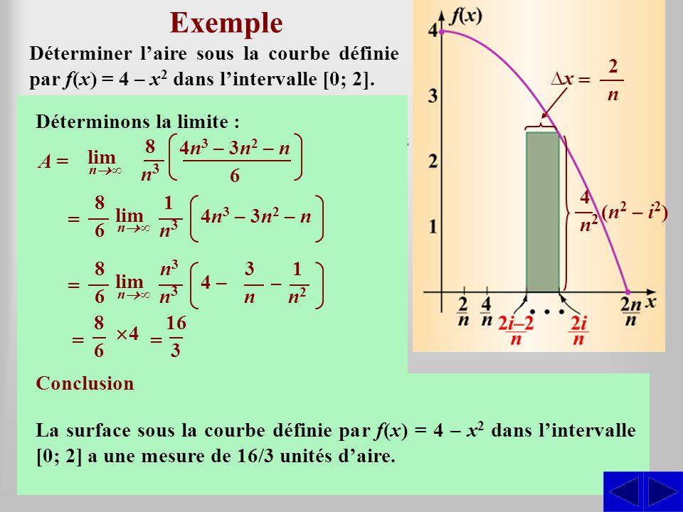 SSS 2 Exemple Esquissons le graphique de la fonction : Déterminer laire sous la courbe définie par f(x) = 4 – x 2 dans lintervalle [0; 2]. x = 2 – 0 n