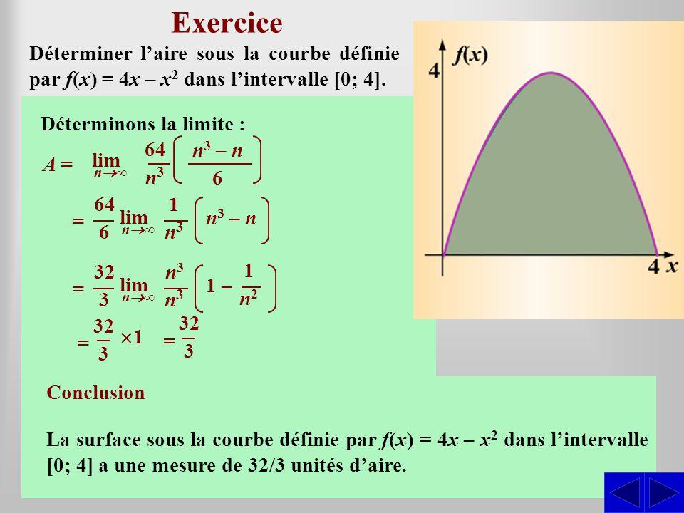 SSS Exercice Esquissons le graphique de la fonction : Déterminer laire sous la courbe définie par f(x) = 4x – x 2 dans lintervalle [0; 4]. x = 4 – 0 n