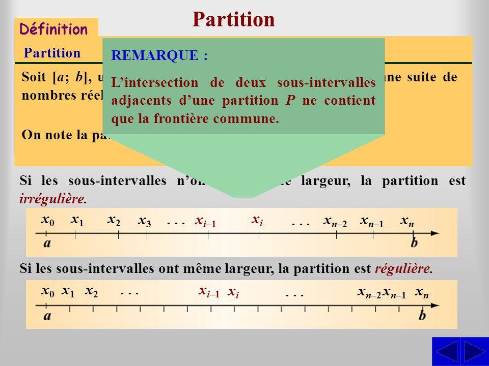 Partition S Définition Partition Soit [a; b], un intervalle. Une partition P de [a; b] est une suite de nombres réels x 0, x 1,x 2,..., x n tels que :