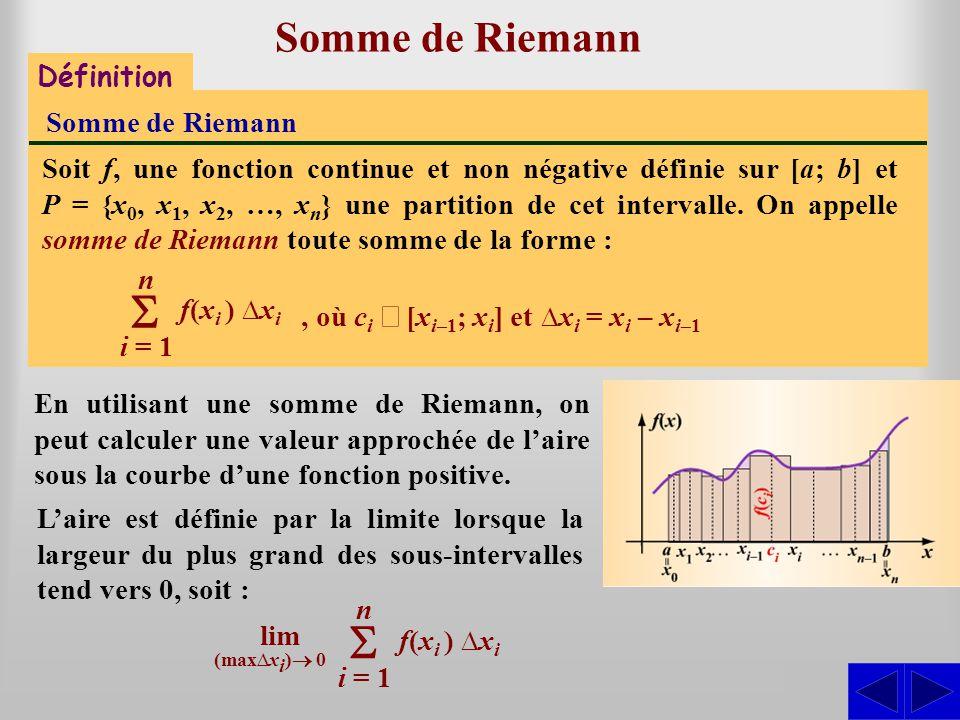 Somme de Riemann Laire est définie par la limite lorsque la largeur du plus grand des sous-intervalles tend vers 0, soit : En utilisant une somme de R