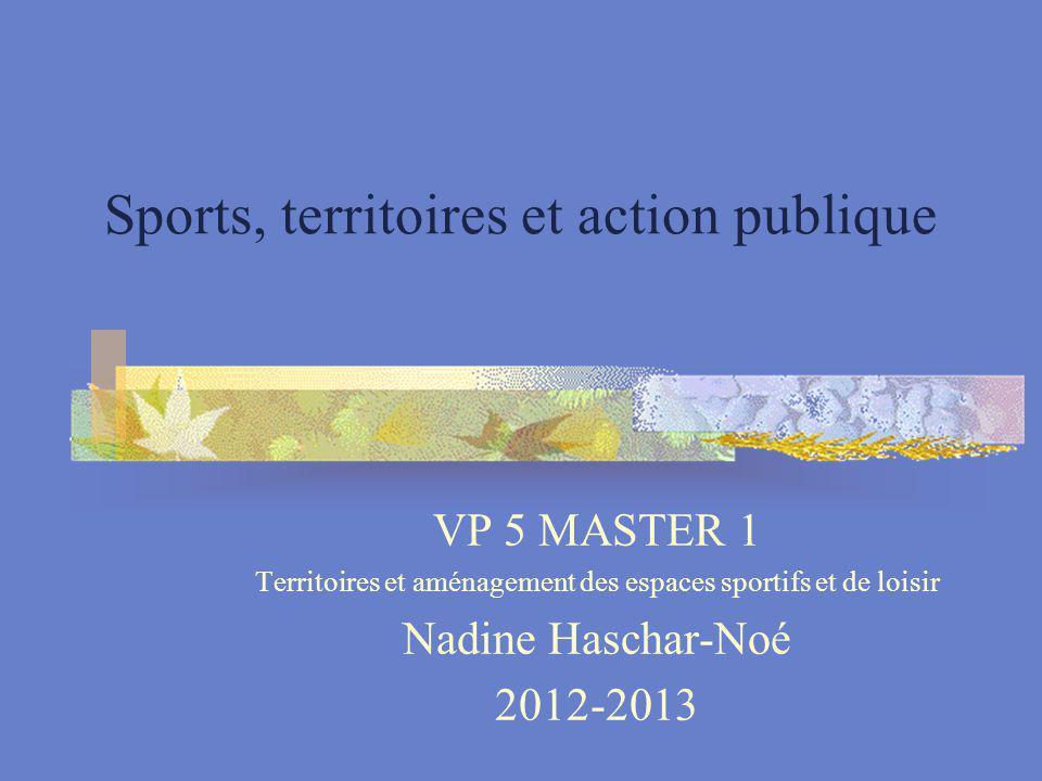 Sports, territoires et action publique VP 5 MASTER 1 Territoires et aménagement des espaces sportifs et de loisir Nadine Haschar-Noé 2012-2013
