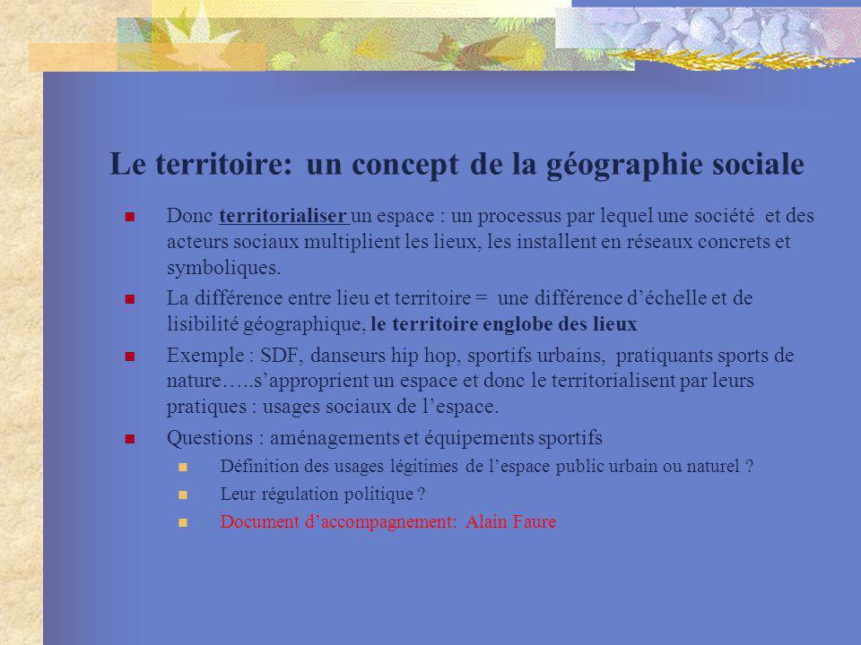 Le territoire: un concept de la géographie sociale Donc territorialiser un espace : un processus par lequel une société et des acteurs sociaux multipl
