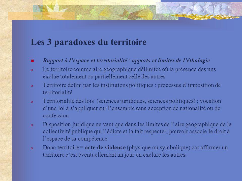 Les 3 paradoxes du territoire Rapport à lespace et territorialité : apports et limites de léthologie o Le territoire comme aire géographique délimitée