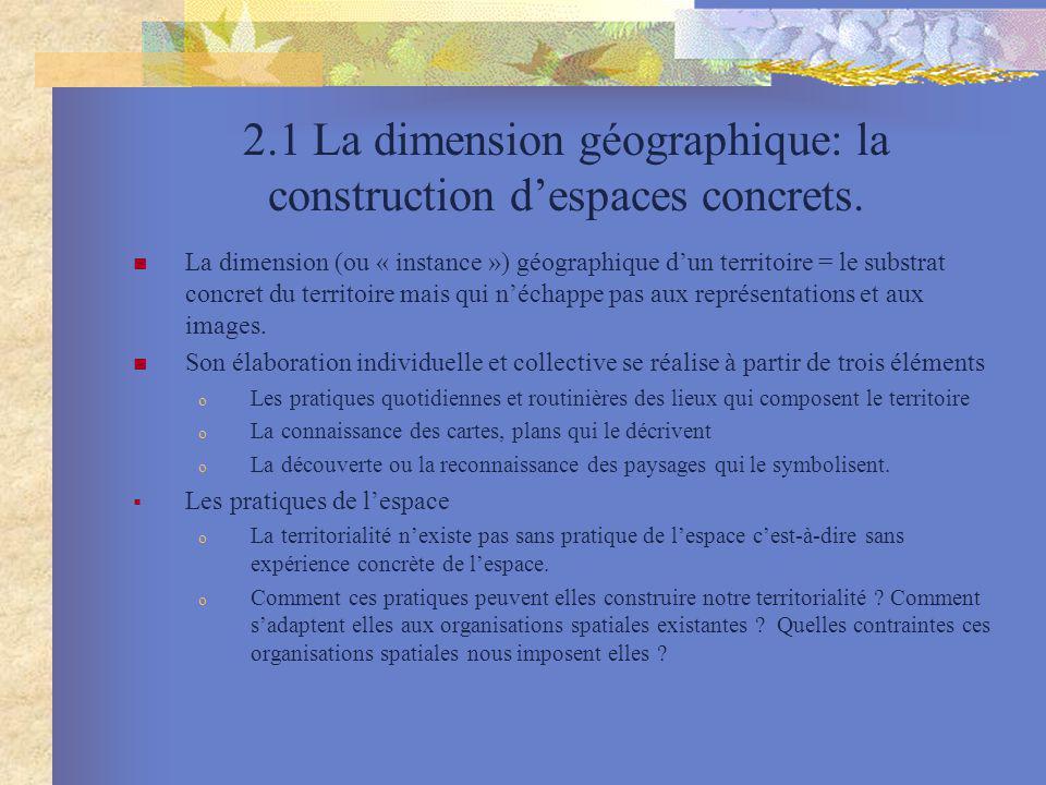 2.1 La dimension géographique: la construction despaces concrets. La dimension (ou « instance ») géographique dun territoire = le substrat concret du