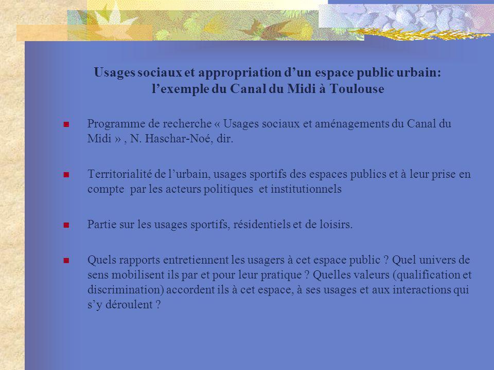 Usages sociaux et appropriation dun espace public urbain: lexemple du Canal du Midi à Toulouse Programme de recherche « Usages sociaux et aménagements