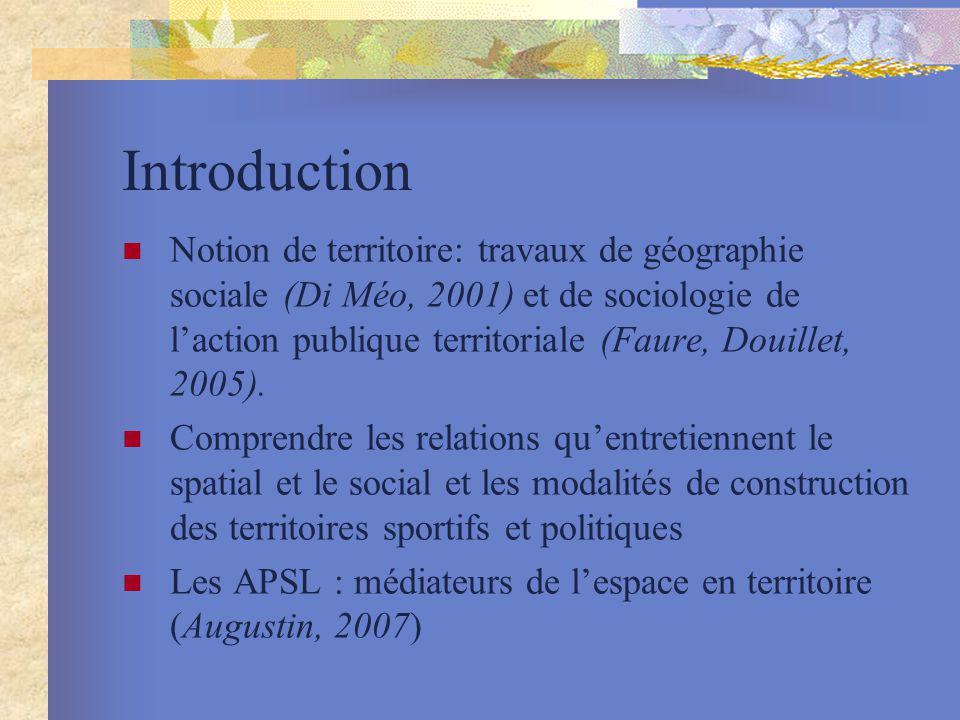 Introduction Notion de territoire: travaux de géographie sociale (Di Méo, 2001) et de sociologie de laction publique territoriale (Faure, Douillet, 20