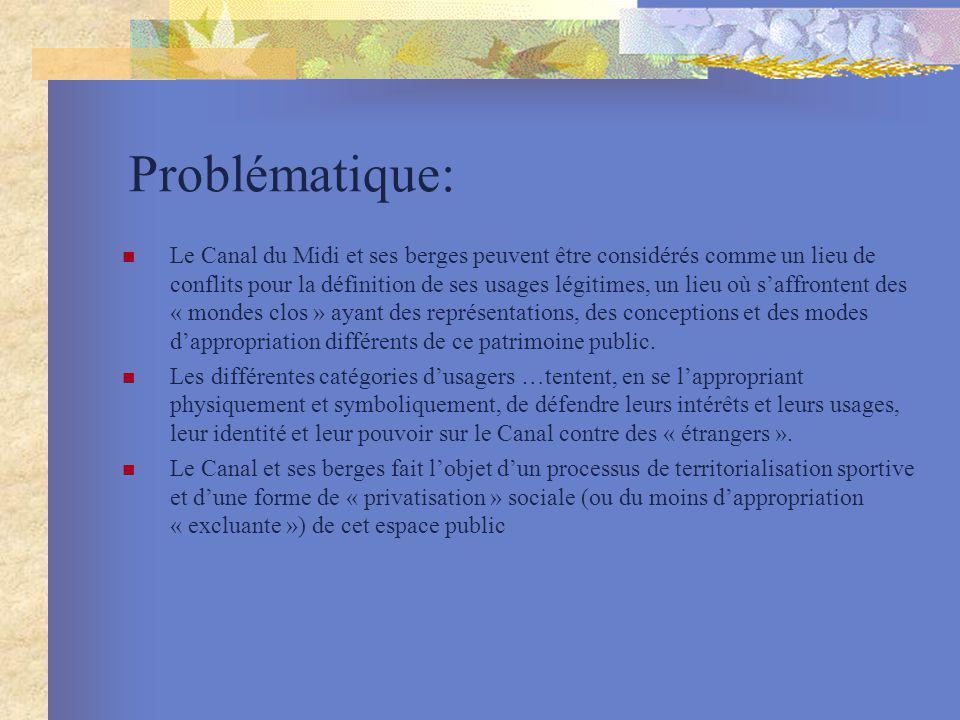 Problématique: Le Canal du Midi et ses berges peuvent être considérés comme un lieu de conflits pour la définition de ses usages légitimes, un lieu où