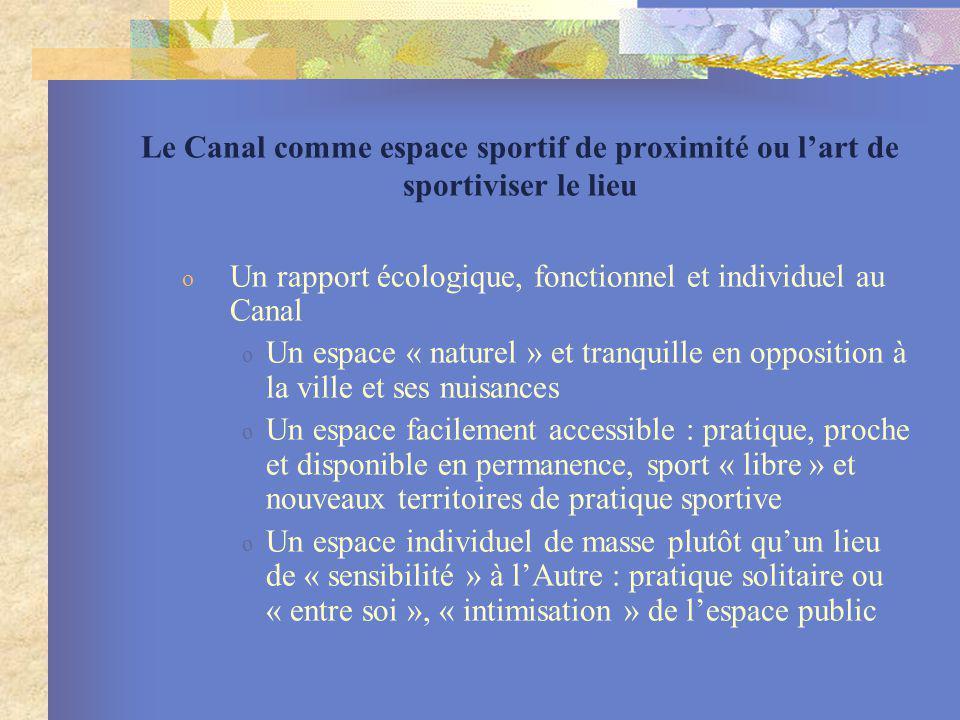 Le Canal comme espace sportif de proximité ou lart de sportiviser le lieu o Un rapport écologique, fonctionnel et individuel au Canal o Un espace « na