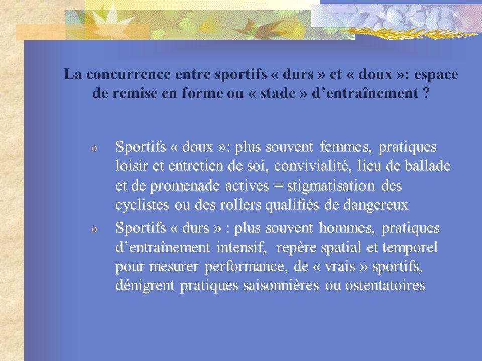 La concurrence entre sportifs « durs » et « doux »: espace de remise en forme ou « stade » dentraînement ? o Sportifs « doux »: plus souvent femmes, p
