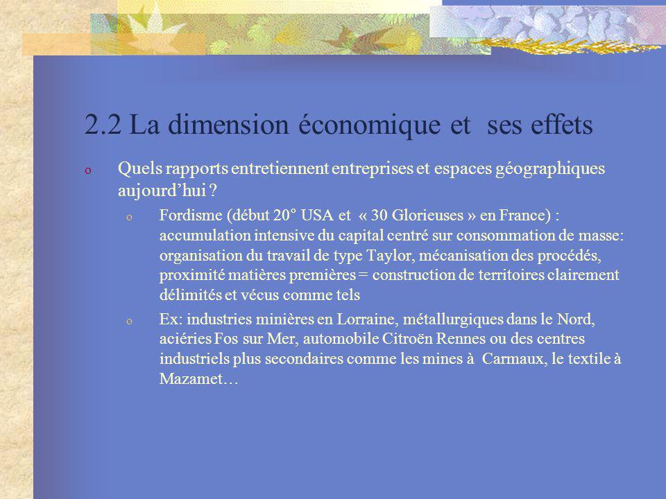 2.2 La dimension économique et ses effets o Quels rapports entretiennent entreprises et espaces géographiques aujourdhui ? o Fordisme (début 20° USA e