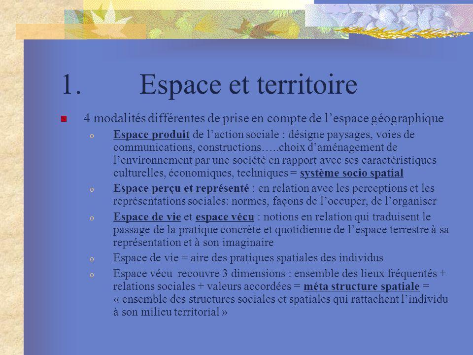1. Espace et territoire 4 modalités différentes de prise en compte de lespace géographique o Espace produit de laction sociale : désigne paysages, voi