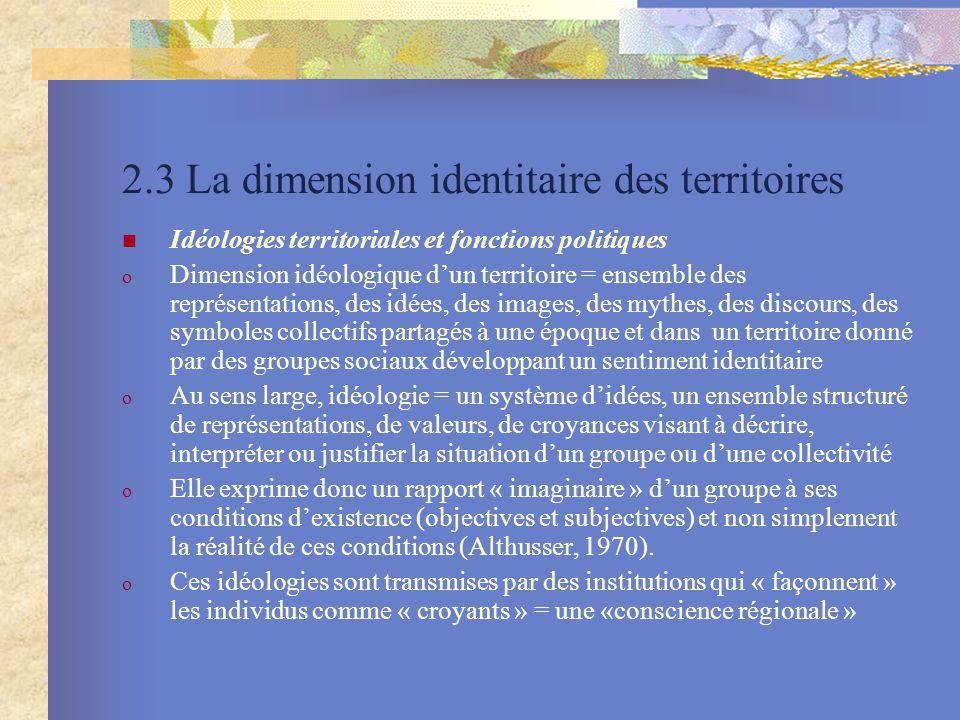 2.3 La dimension identitaire des territoires Idéologies territoriales et fonctions politiques o Dimension idéologique dun territoire = ensemble des re