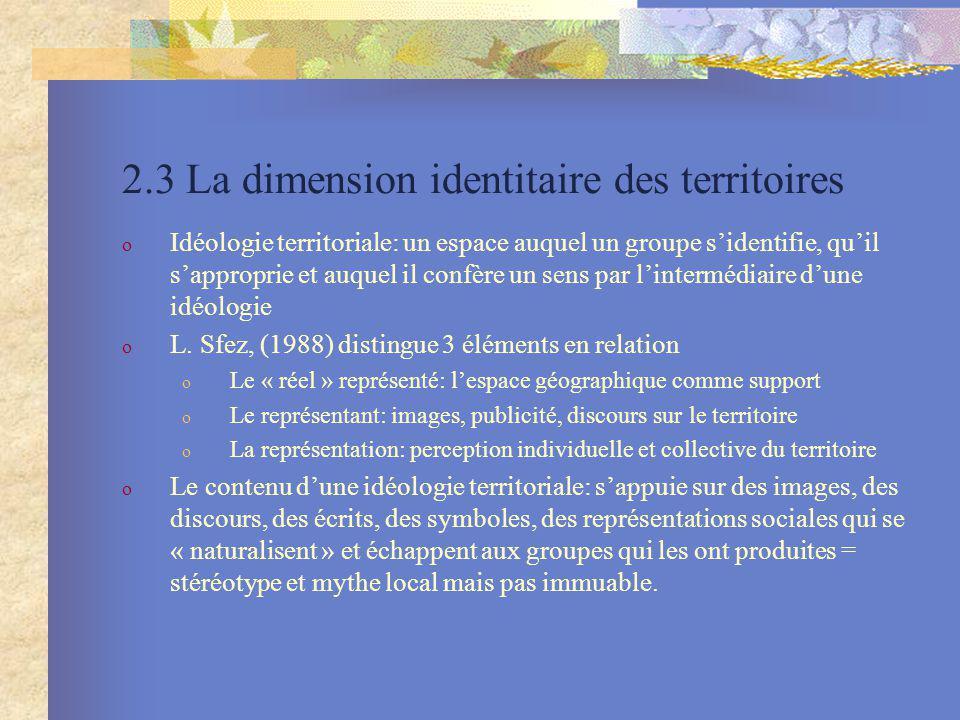 2.3 La dimension identitaire des territoires o Idéologie territoriale: un espace auquel un groupe sidentifie, quil sapproprie et auquel il confère un