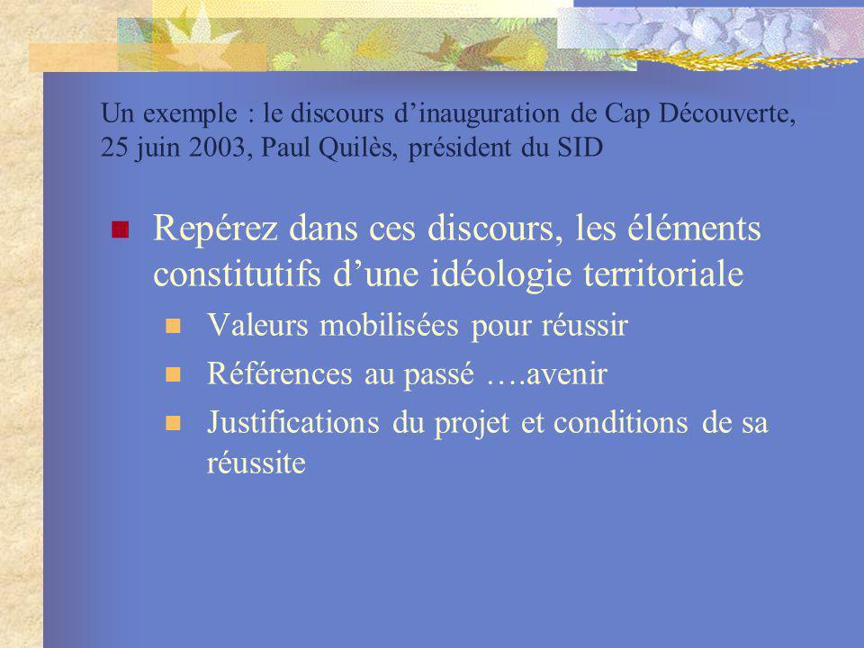 Un exemple : le discours dinauguration de Cap Découverte, 25 juin 2003, Paul Quilès, président du SID Repérez dans ces discours, les éléments constitu