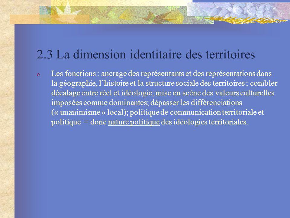 2.3 La dimension identitaire des territoires o Les fonctions : ancrage des représentants et des représentations dans la géographie, lhistoire et la st