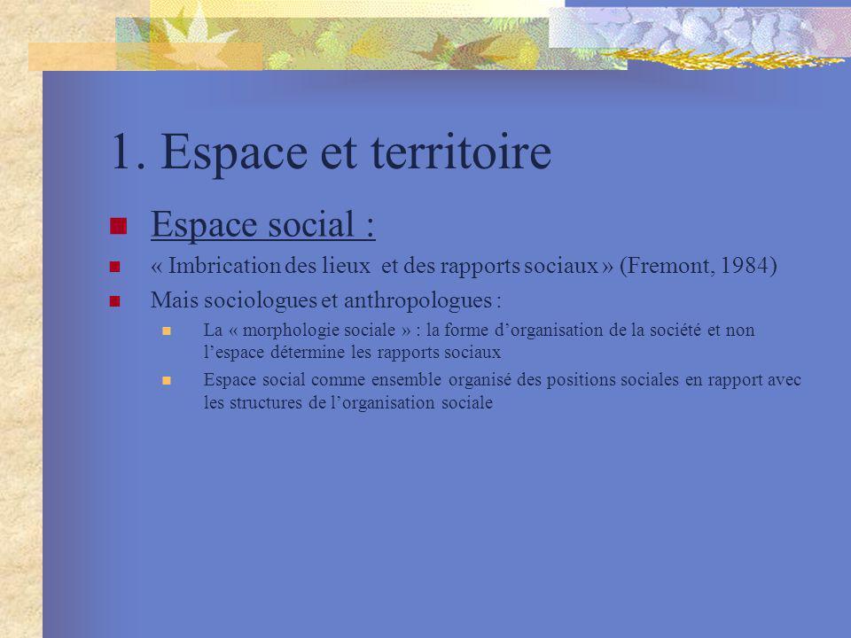 1. Espace et territoire Espace social : « Imbrication des lieux et des rapports sociaux » (Fremont, 1984) Mais sociologues et anthropologues : La « mo