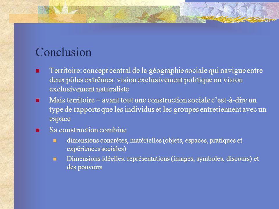 Conclusion Territoire: concept central de la géographie sociale qui navigue entre deux pôles extrêmes: vision exclusivement politique ou vision exclus