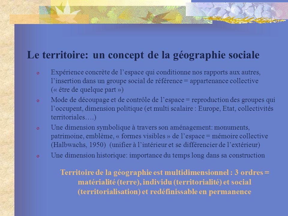 Le territoire: un concept de la géographie sociale o Expérience concrète de lespace qui conditionne nos rapports aux autres, linsertion dans un groupe