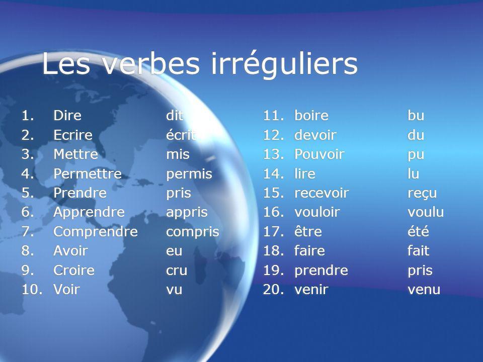 Les verbes irréguliers 1.Diredit11. boirebu 2.Ecrireécrit12.