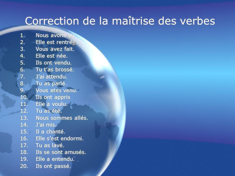 Correction de la maîtrise des verbes 1.Nous avons vu.
