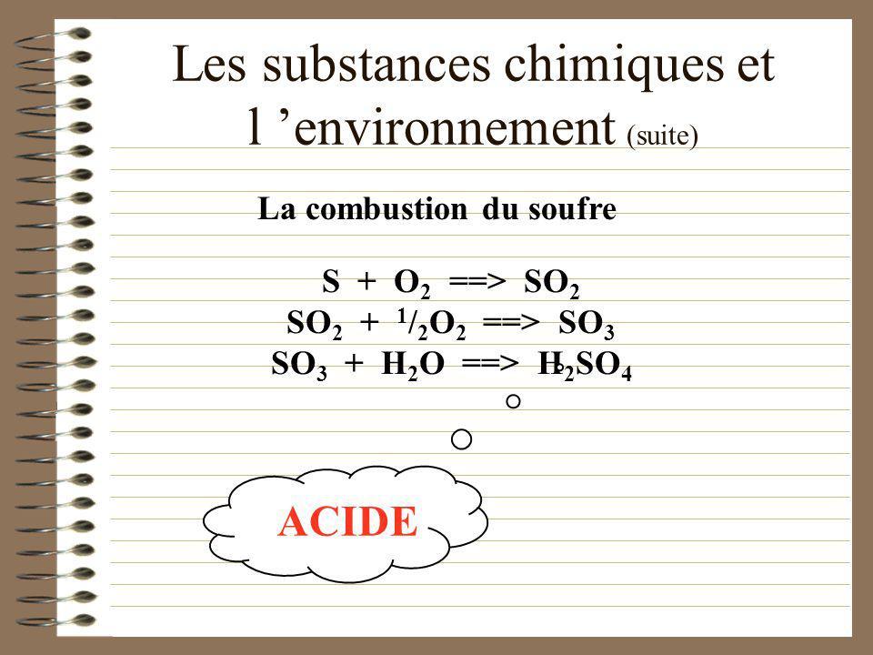 Les substances chimiques et l environnement Les pluies acides sont produites par la combustion de non-métaux. Les pluies acides sont produites par la