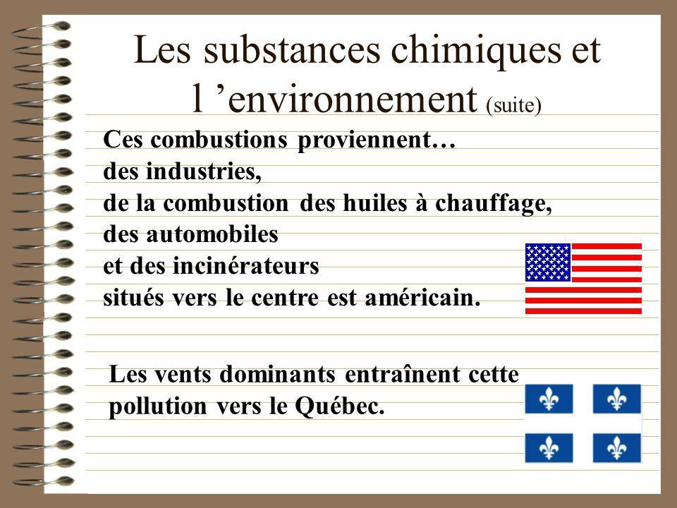 Les substances chimiques et l environnement (suite) La combustion du soufre S + O 2 ==> SO 2 SO 2 + 1 / 2 O 2 ==> SO 3 SO 3 + H 2 O ==> H 2 SO 4 ACIDE