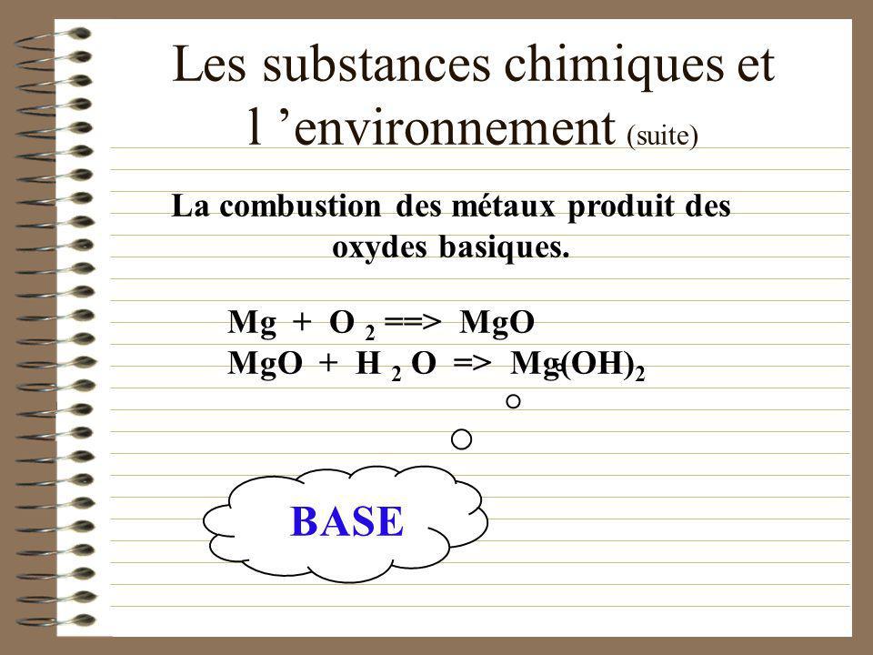Les substances chimiques et l environnement (suite)