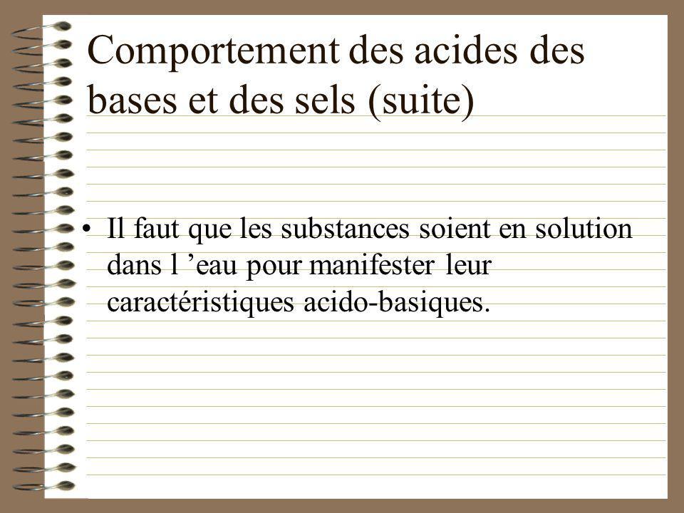 Comportement des acides des bases et des sels rougit bleuit sans effet OUI rien visqueux rien aigre amer salé réaction pas de réaction pas de réaction