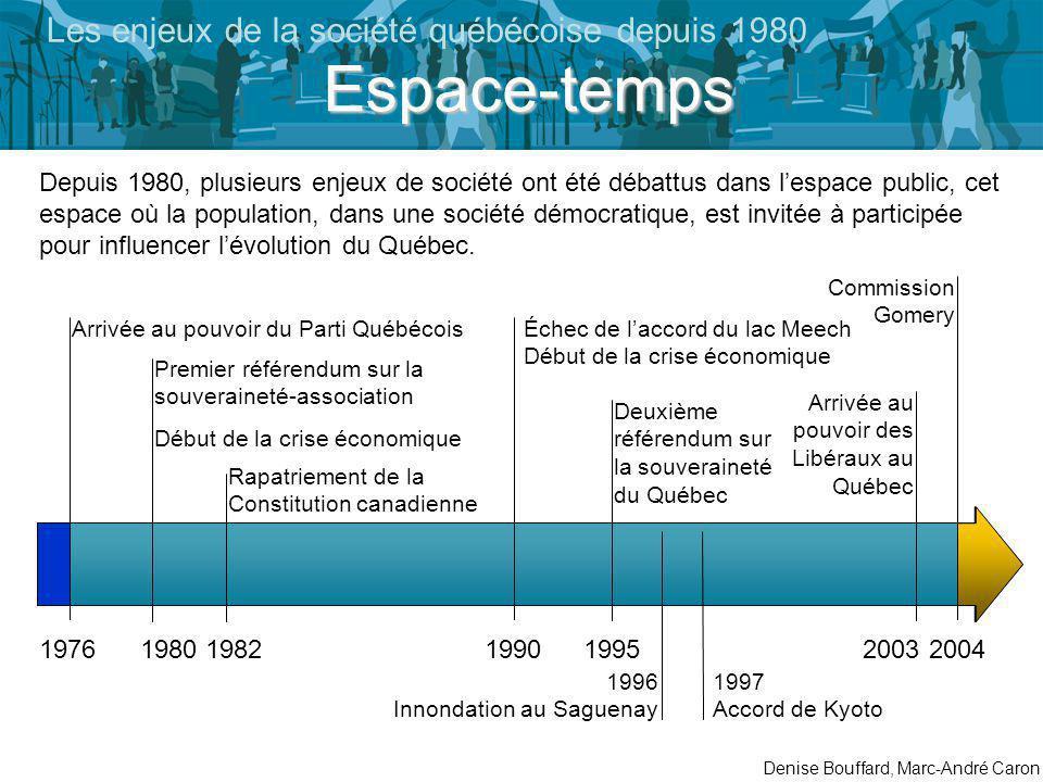 Commission Gomery 19762004 Arrivée au pouvoir du Parti Québécois Depuis 1980, plusieurs enjeux de société ont été débattus dans lespace public, cet espace où la population, dans une société démocratique, est invitée à participée pour influencer lévolution du Québec.