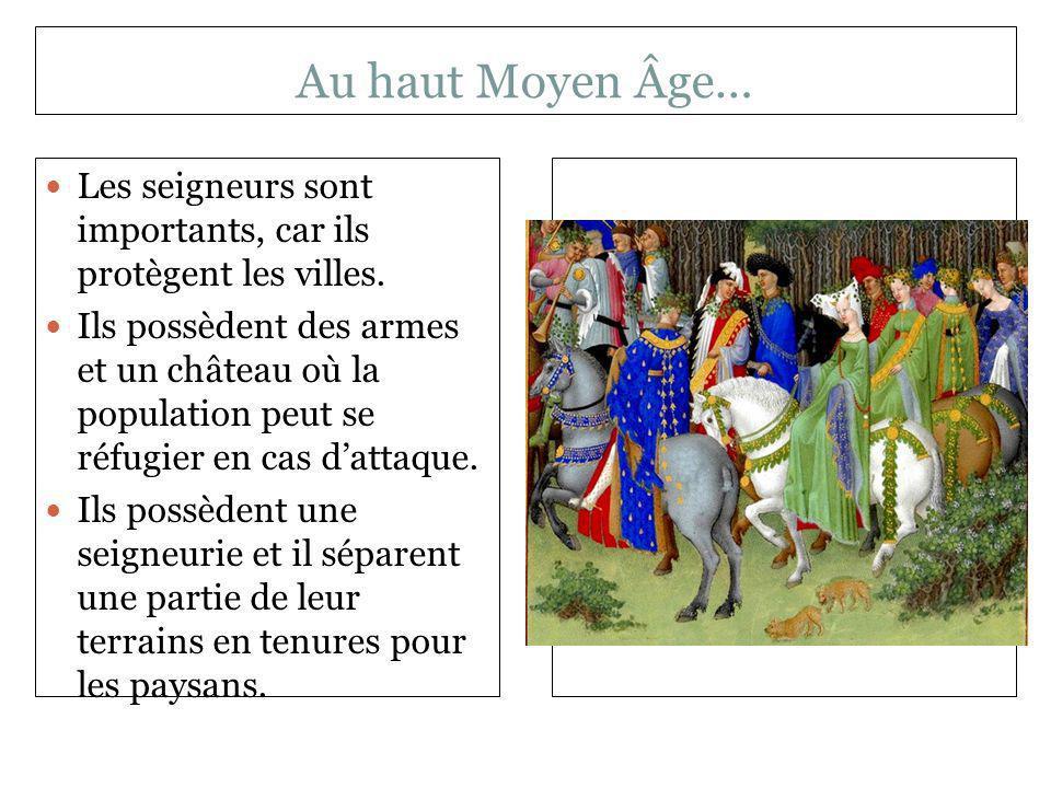 Au haut Moyen Âge… Les seigneurs sont importants, car ils protègent les villes. Ils possèdent des armes et un château où la population peut se réfugie