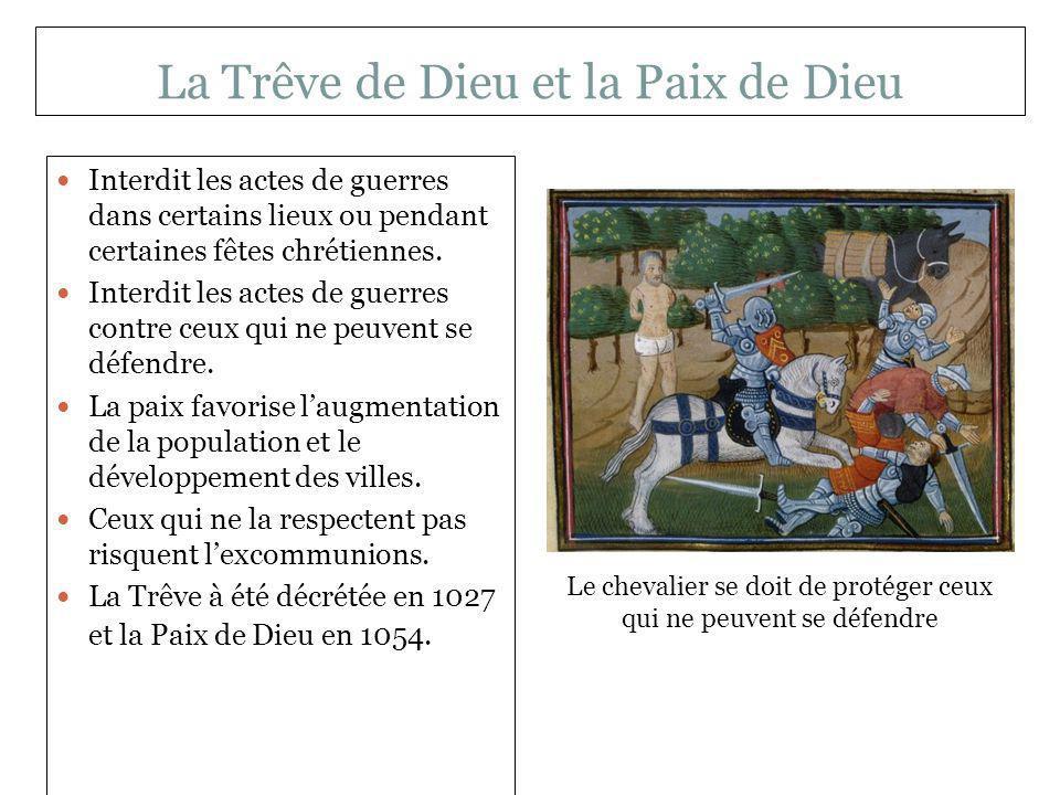 La Trêve de Dieu et la Paix de Dieu Interdit les actes de guerres dans certains lieux ou pendant certaines fêtes chrétiennes. Interdit les actes de gu